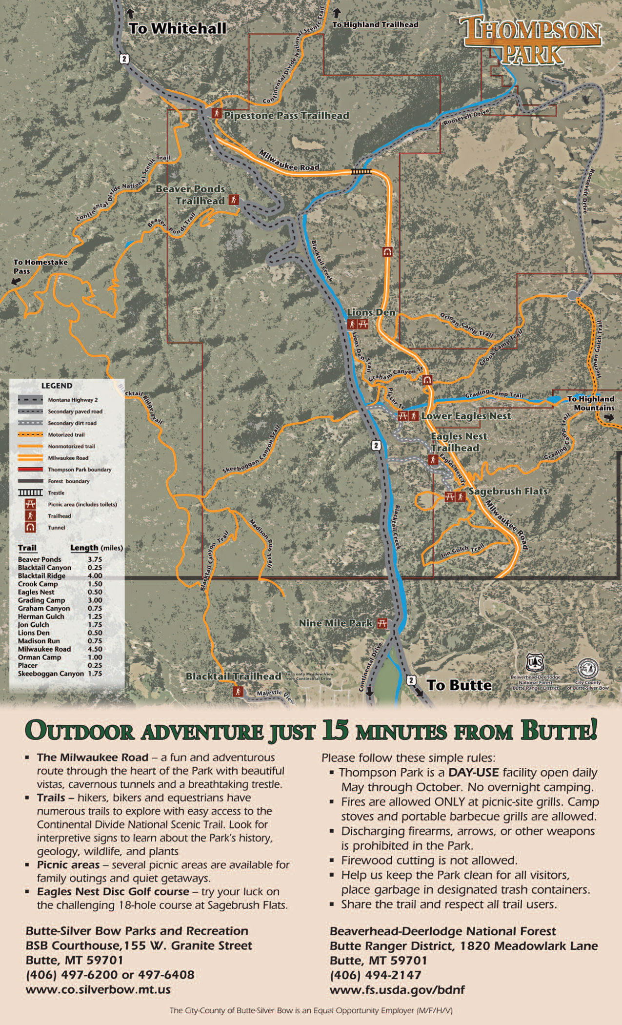 Thompson Park City And County Of ButteSilver Bow MT - Mt us map