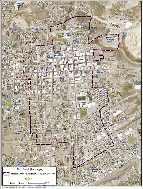 Map of Uptown Buttes Urban Renewal District