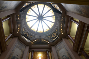 The historic rotunda dome of the Butte-Silver Bow courthouse at 155 W Granite St. Photo by KXLF-TV.