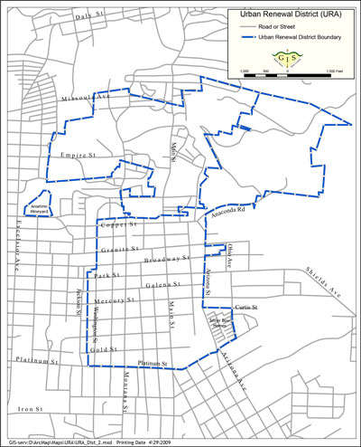 Map: Butte Uptown Urban Renewal District Boundary (prior to 2014, jpg, sm)