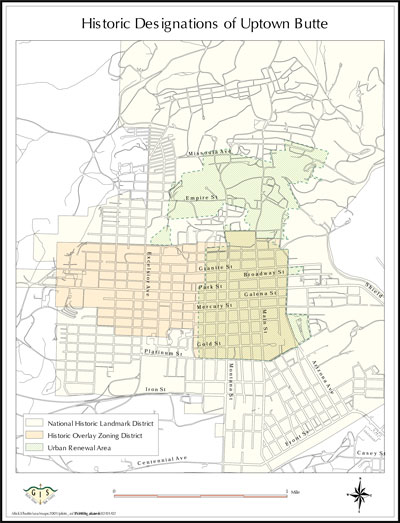 Map: Historic Designations of Uptown Butte (jpg, sm)